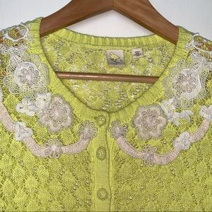 Anthropologie Sweaters - Anthro {Yellow Bird} Lace Valence Summer Cardigan